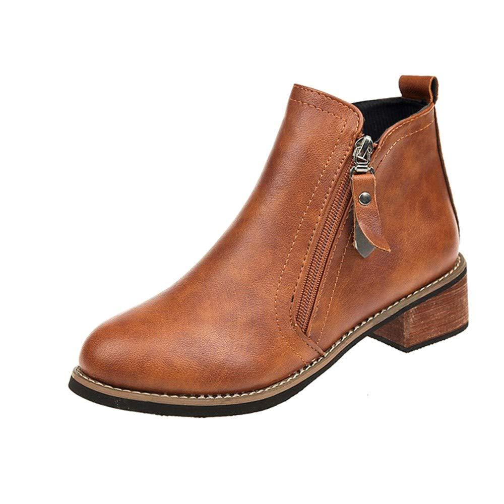 Robemon♚Femme Classique Automne Hiver Chelsea Tê te Ronde Plat Bottes Faible Cuir Bord Zip Boots Sole É paisse Cheville Plats Chaussures