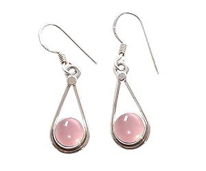 Pink Rose Quartz Earrings For Women - Rose Quartz Drop Dangle Earrings For Women Girls 925 Sterling Silver
