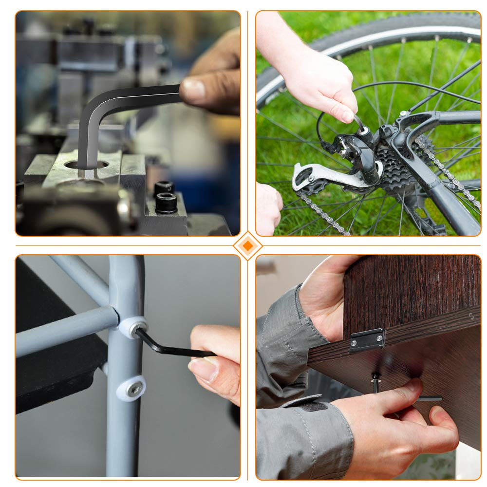 E/·Durable 9 PCS Allen Keys Long Arm Ball Head//Flat Head Double Use Hex Key Set Allen Hex Key Wrench Set for Electronics Bikes Automobile Motorcycle Repair 1.5 2 2.5 3 4 5 6 8 10mm
