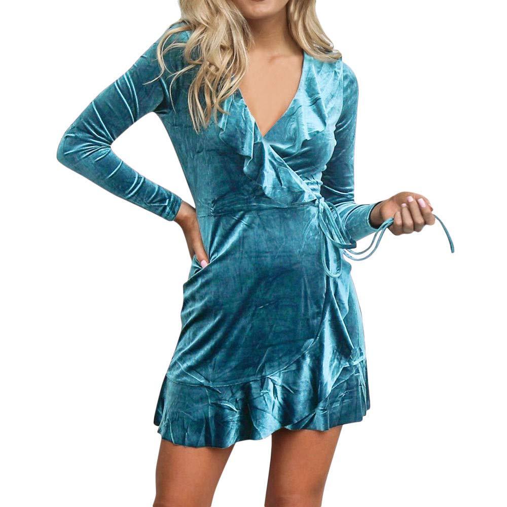 Hffan Damen Kleid Wickelkleid Minikleid Freizeitkleid Herbstkleid Winterkleid Partykleid Cocktailkleid Modisch SAMT Sexy Eng Langarm V-Ausschnitt Elegant Rüschen Minirock