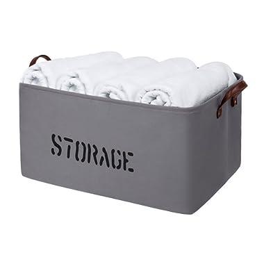 Large Storage Basket | Collapsible Canvas Baskets – Foldable Woven Fabric Organizer Bin for Baby Nursery, Bathroom, Shelves, Blanket, Laundry, Shoe, Closet, Kids & Dog Toy - Light Grey, Rectangular