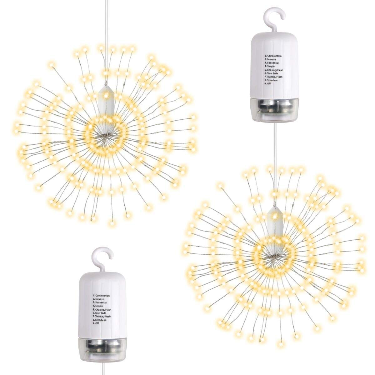 Hanging LED String Lights Starburst Lights Firework Fairy Bouquet Shape per Natale Confezione da 2 Twinkle Lights