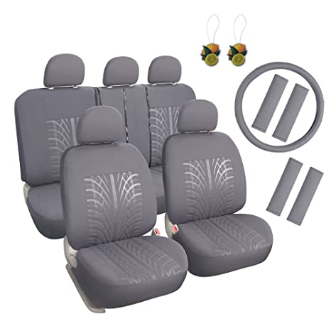Auto Cloth 17pcs Car Seat Covers Full Set Front Rear Grey With Airbag Universal Fits