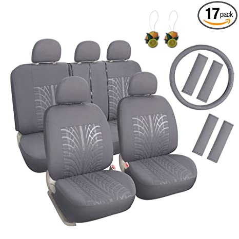 Seat Covers For Trucks >> Leader Accessories Embossed Cloth Grey 17pcs Car Seat Covers Full Set Front Rear Universal Fits Trucks Suv With Airbag Steering Wheel Cover Shoulder