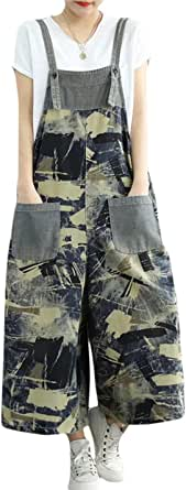 Flygo Women's Casual Loose Baggy Overalls Jumpsuits Rompers 100% Cotton Drop Crotch Floral Printed