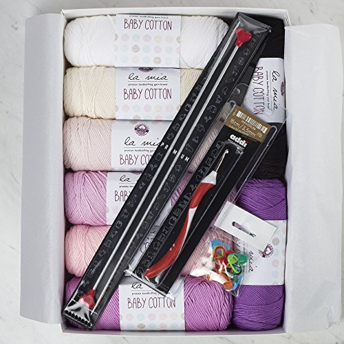 (La Mia Baby Cotton Gift Set - Lavender, 8 Skeins of Assorted Colors La Mia Baby Cotton Yarn, 50% Cotton 50% Acrylic, 100 g (3.5 oz) / 200 m (218 yds), Yarn Weight: 4 : Worsted-Aran - Lavender)