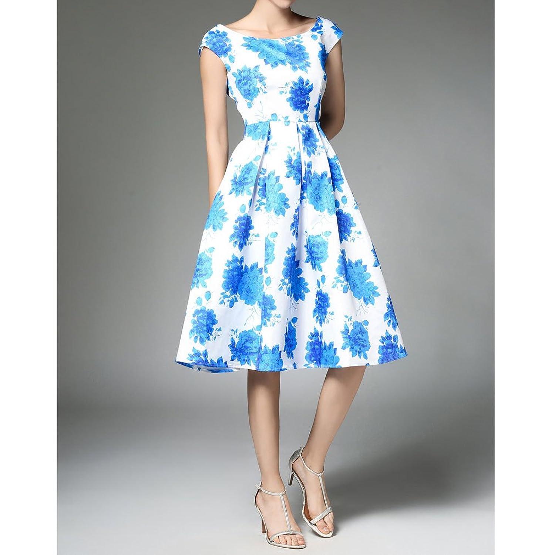 Honghu Damen Sommer ärmellos Printing Taille Knielang Partykleider:  Amazon.de: Bekleidung