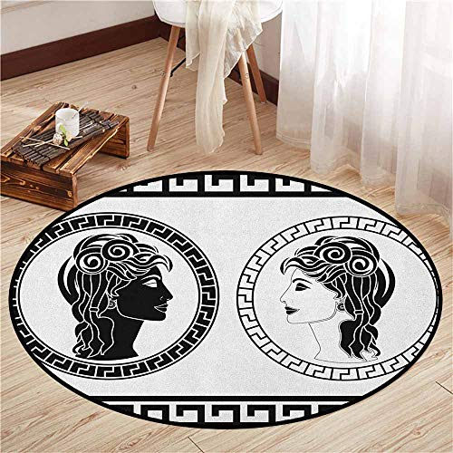 Indoor/Outdoor Round Rugs,Toga Party,Roman Aristocrat Woman Profiles Circular Classical Frames Hairstyle Beauty,Sofa Coffee Table Mat,3'7