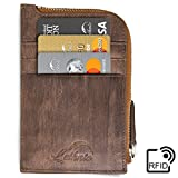 Lethnic zip around wallet, genuine leather metal zipper travel with front pocket, RFID Blocking for men/women - Enclosed Gift Box (Special Brown)