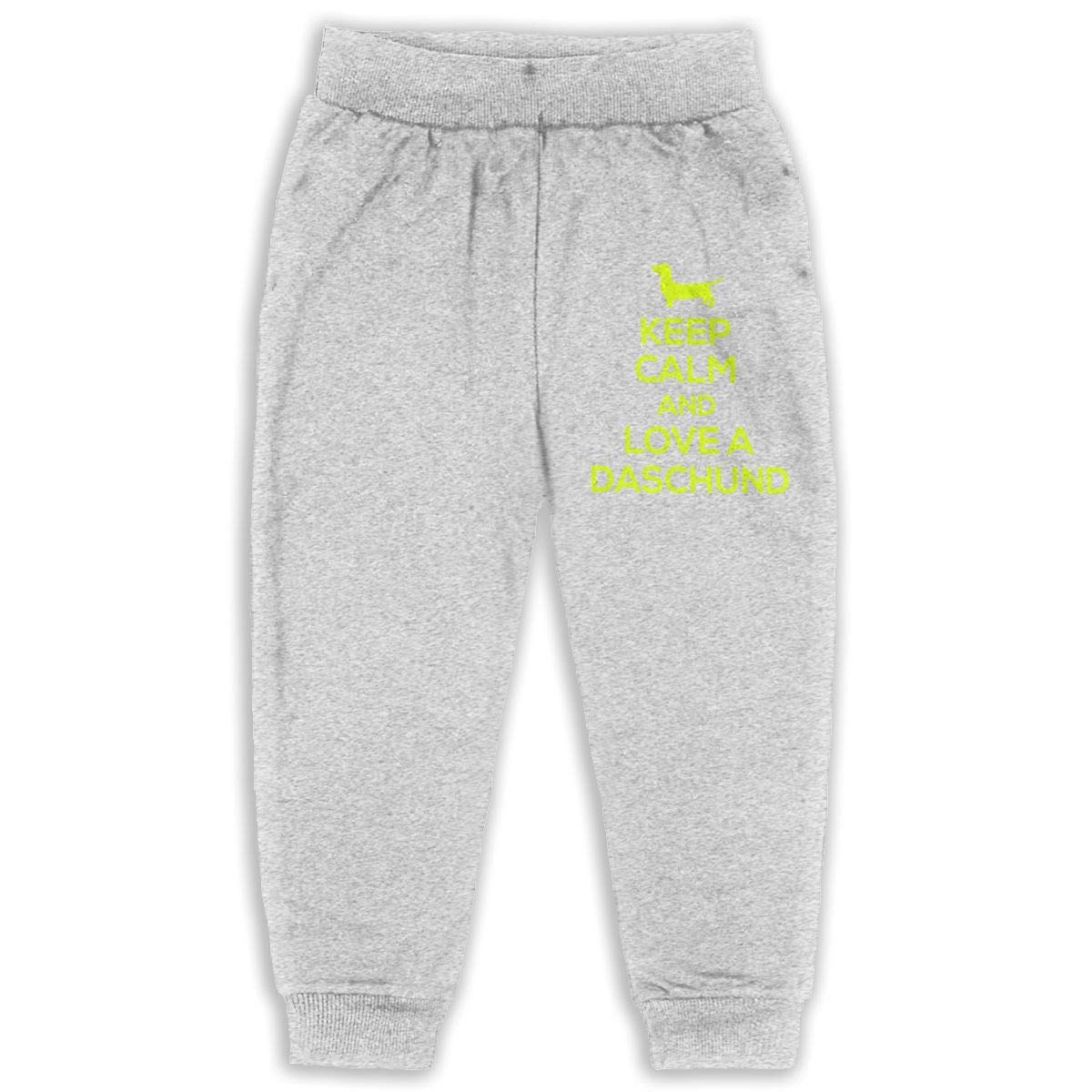 Black JAWANNA Keep Calm and Love Daschunds Boys Cotton Sweatpants 2-6 Years Age 2T-6T