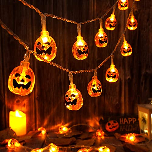2 Pack Halloween Pumpkin Lights 19.7ft 40 LED Halloween String Lights Battery Operated 3D Jack-O-Lantern Lights 8 Modes Waterproof for Halloween Decorations Outdoor, Indoor, Party