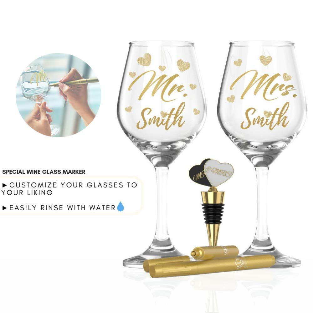 LUXURY MR & MRS WINE GLASS SET FOR COUPLES- Best Engagement Gifts for Her, Bride & Groom, Bridal Shower Gifts, Wedding Gifts For The Couple- FREE Wine Stopper, Glass Marker & Gift Card by LUXLOVE (Image #3)