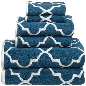 Divatex Home Fashions Reversible Moroccan Tile 6-Piece Jacquard Towel Set, Blue