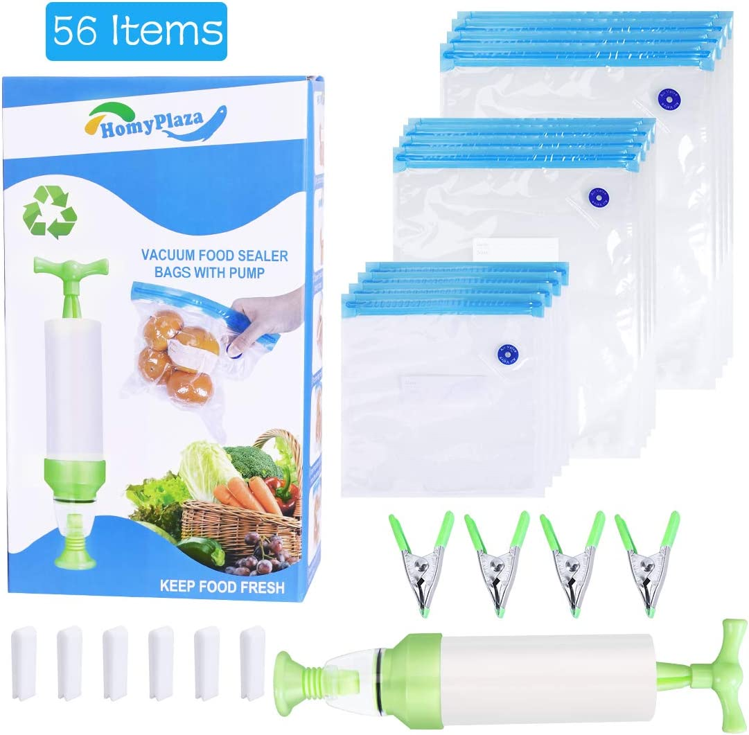 Sous Vide Bags - 45 Reusable Vacuum Food Storage Bags with Vacuum Hand Pump, 6 Sealing Clips, 4 Sous Vide Bag Clips - Sous Vide Bag in 3 Sizes for Food Storage and Sous Vide Cooking