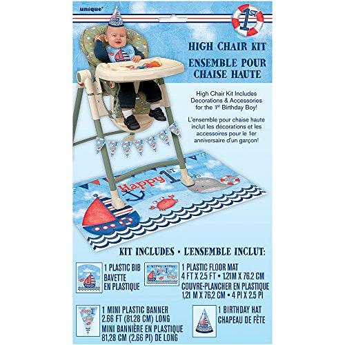 Boy High Chair Kit - Nautical Boys 1st Birthday High Chair Decoration Kit, 4pc