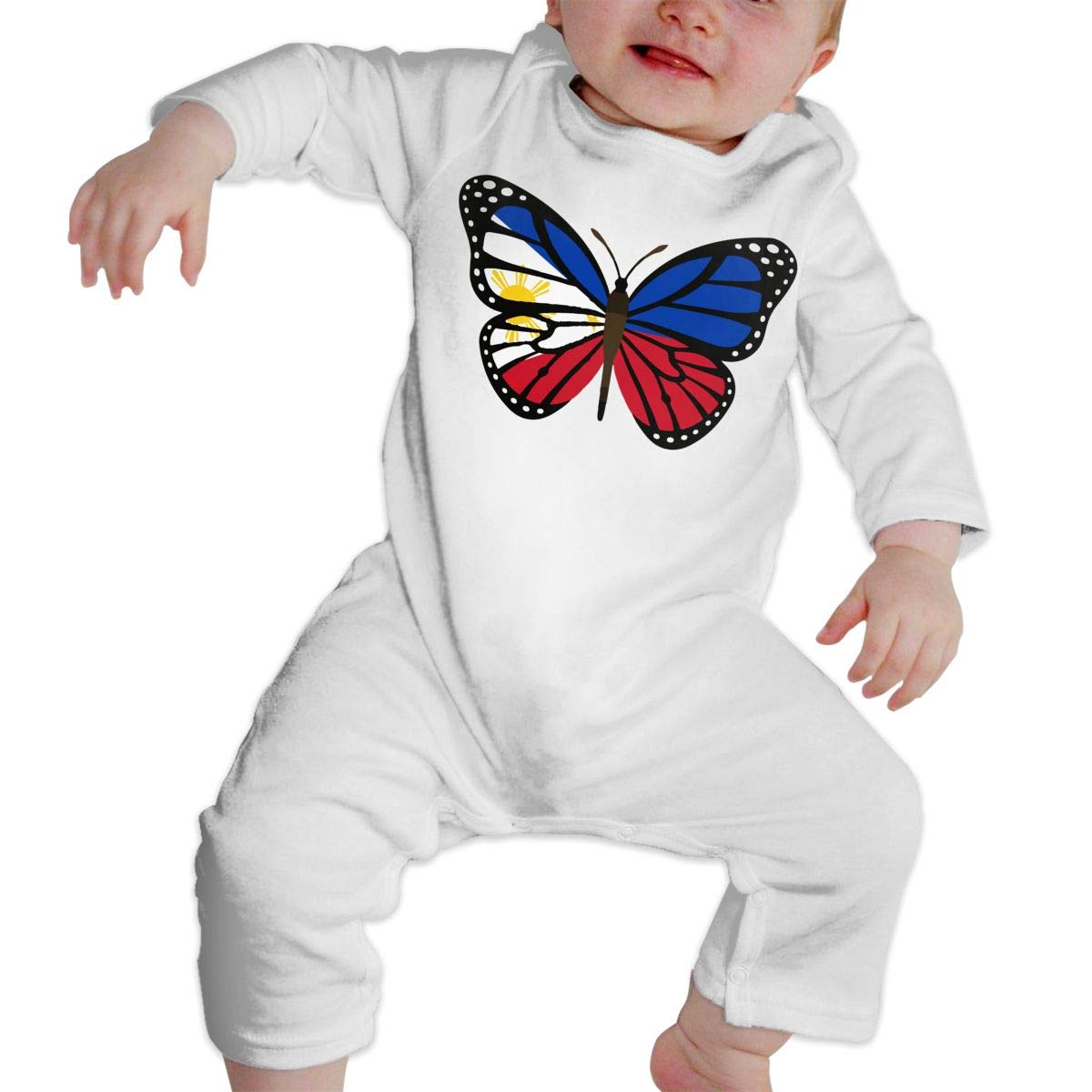 Mri-le1 Baby Boy Girl Jumpsuit ButterFlag Philippines Flag Infant Long Sleeve Romper Jumpsuit