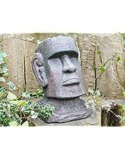 Nueva cabeza de la isla de Pascua adorno de jardín Estatua de resina arte Escultura grande 44cm
