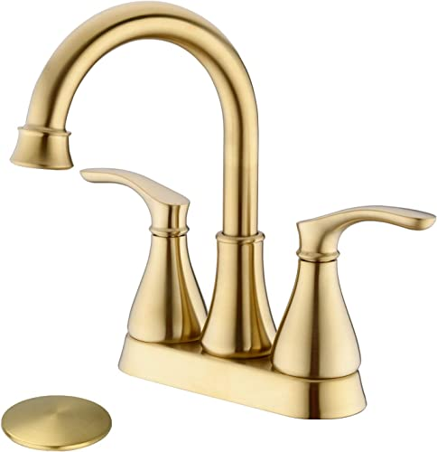 TRUSTMI 2-Handle 4-Inch Centerset Bathroom Sink Faucet with Pop Up Drain Assembly and Water Supply Hose Deck Mounted Lavatory Countertop Mixing Faucet, Brushed Gold