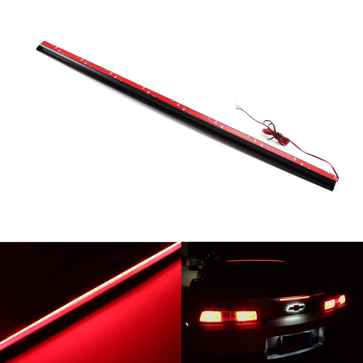 Ijdmtoy Above Rear Windshield 36 Led 3rd Brake Light Gmc Third Wiring Assembly Universal Fit W Audi A7 Bmw 6 Series Tesla Style Roofline