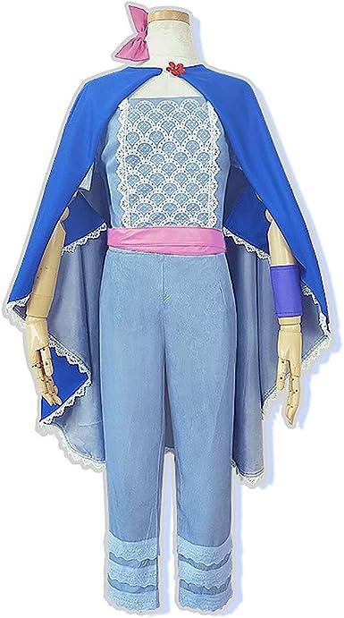 Disfraz de Bo Peep para Mujer, Traje Azul Claro, Capa capó para ...