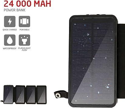 Cargador Solar PowerLocus – [4 Paneles Eficientes] Cargador 24000mAh Resistente al Agua Para Emergencias, Cargador Con Batería Externa, Solar, Resistente y Portátil para Móviles/Tablets/GPS/Camping..: Amazon.es: Electrónica