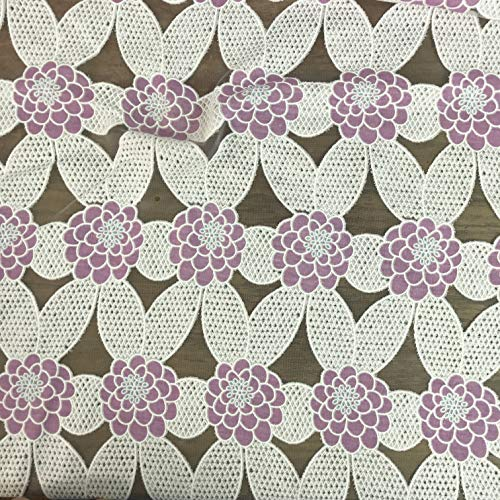 - Amornphan 60 Inches White Embroidered Mesh Purple Floral Polyester See Through Cotton Lace Stretch Fabric Dress Craft Decor Tablecloth by The Yard (Purple)