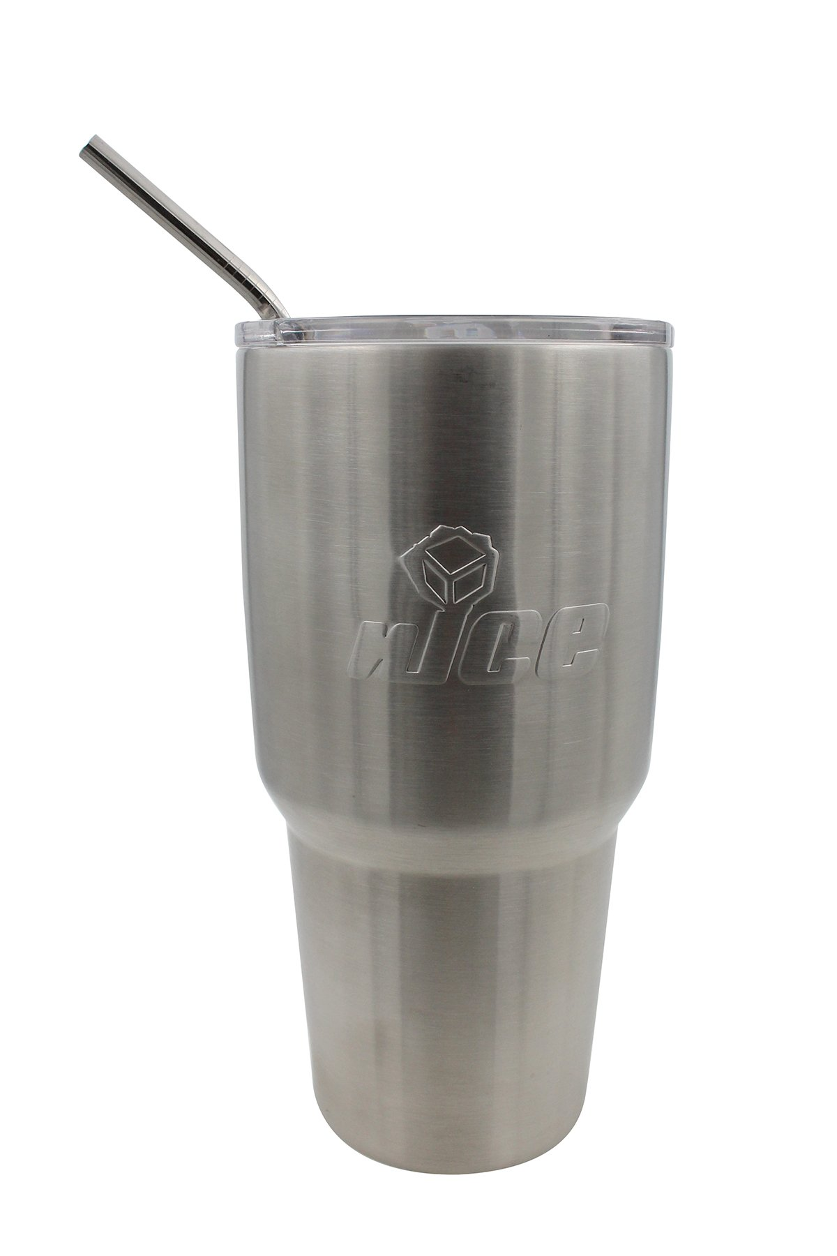 nICE TXG-513860 Steel Tumbler with Straw, Stainless, 30 oz