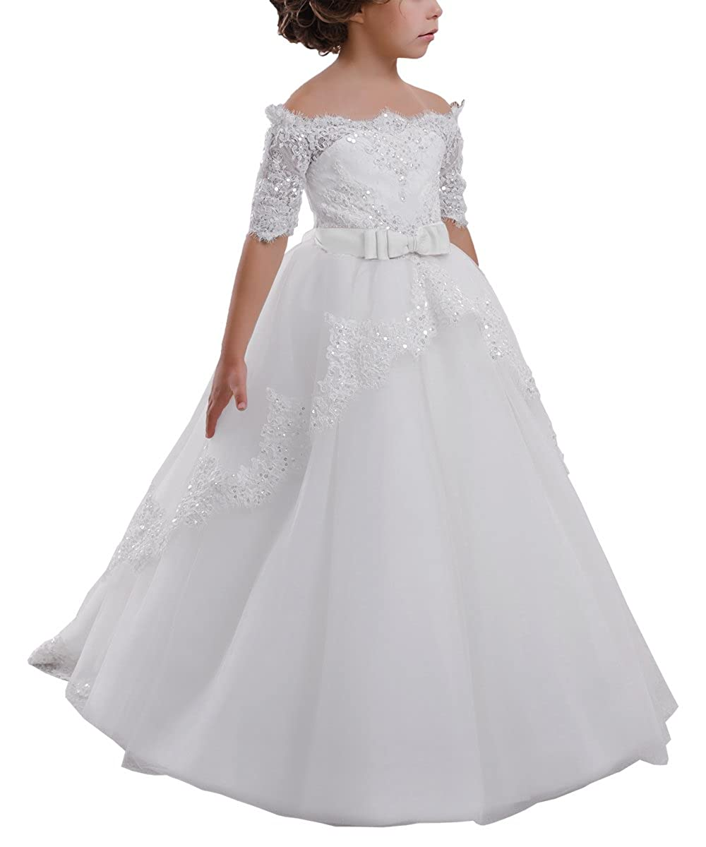 fd823605d Amazon.com: Elegant Flower Girl Lace Beading First Communion Dress 2-12  Years Old: Clothing
