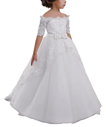 e5767089b025 Elegant Flower Girl Lace Beading First Communion Dress 2-12 Years Old All  White Size