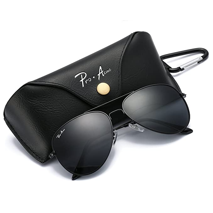 191a245a38263 Pro Acme PA3026 Large Metal Polarized Aviator Sunglasses with Eyeglasses  Case (Black Lens)