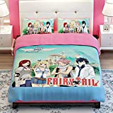 Sport Do Fairy Tail Anime Bedding Sets Kids Clubhouse Super Soft Luxury 3 Piece Twin Size in Classic Design Bedding Set - Duvet Cover, Flat Sheet & Pillow Cases