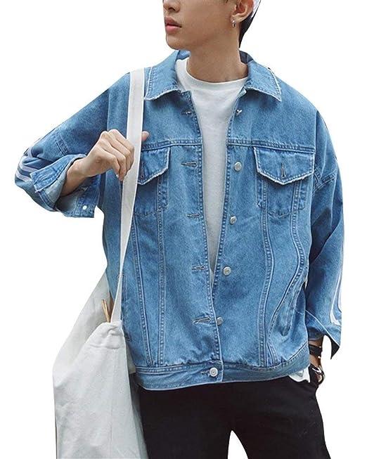 Lounayy Chaqueta Mezclilla Patchwork Tamaño Gran Formal Hombres Casual Chaquetones Chaqueta Suelta Mezclilla Abrigos Outwear Jeans Coat La Capa Mezclilla ...