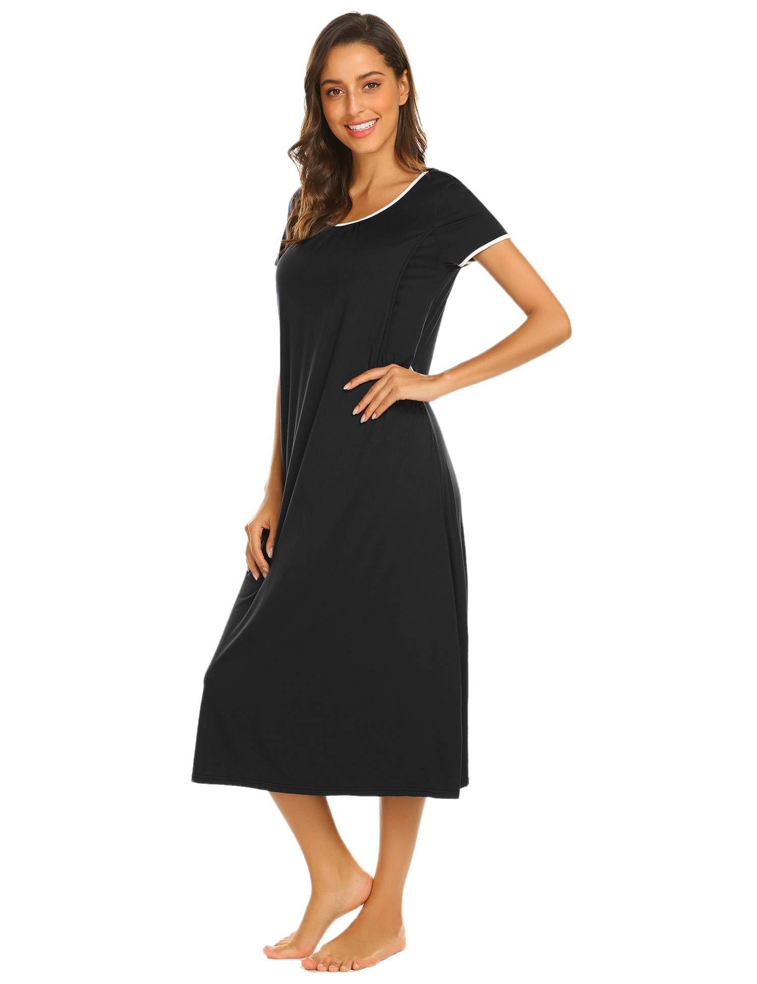Ekouaer Sleepwear Women's Nightshirt Casual Loungewear Short Sleeve Long Nightgown, Black, Medium by Ekouaer