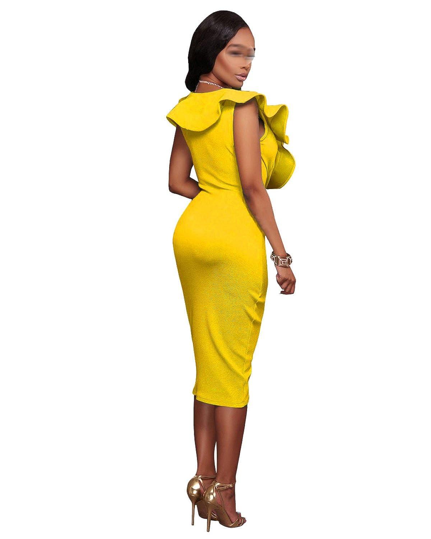 Frau Sommer Sexy V-Ausschnitt Rüschen Kleid Mehrfarbig Multi-size:  Amazon.de: Bekleidung