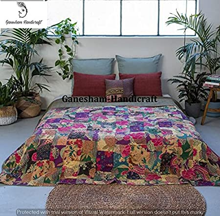 Indian Patch Work Cotton Kantha Quilt Queen Bedspreads Throw Blanket Bohemian Bedspread Bed Cover 639 Bohemian Patch Quilt