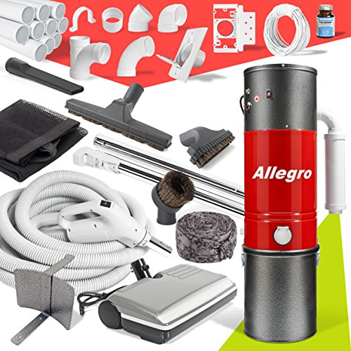 Central Vacuum Complete Electric Package with Allegro Unit 3 Inlet Kit & 80 ft Pipe