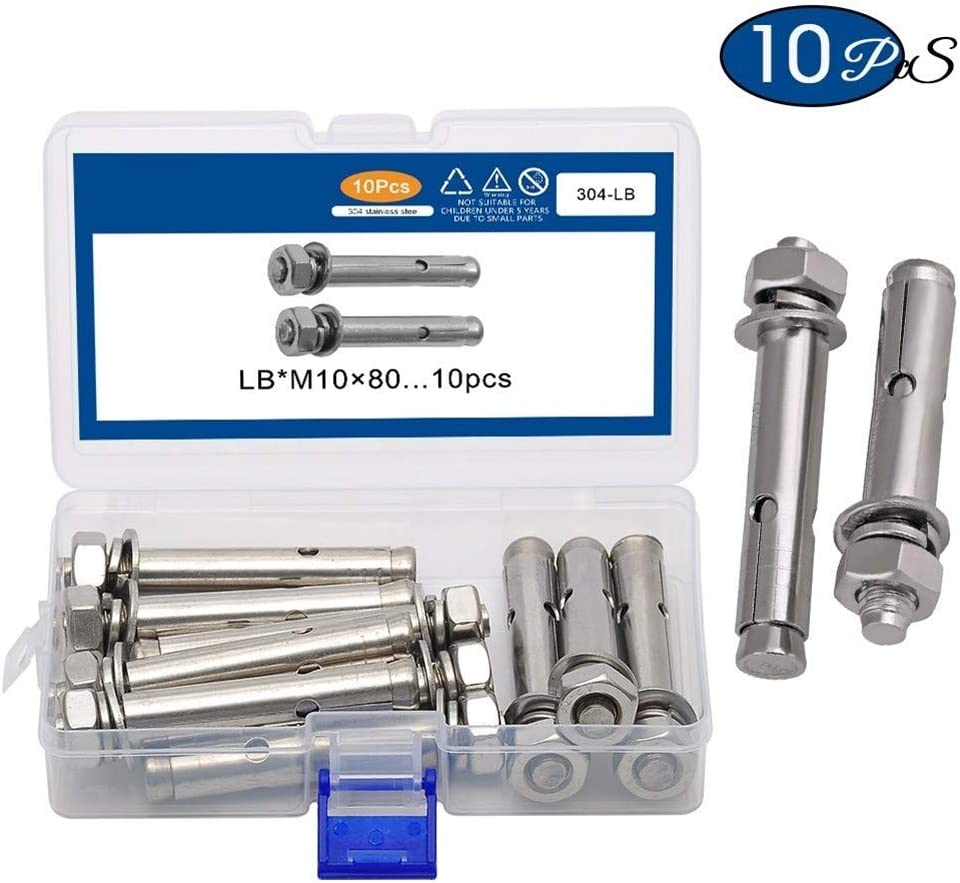 NO-LOGO Durable M6//M8//M1080 Expansion Screw 304 Stainless Steel Expansion Bolt for Subway Home Decoration Fasteners Assortment Kit Size : M8x80mm