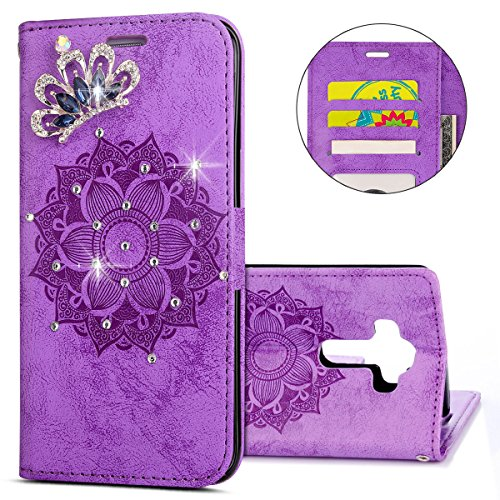 G3 Open Case - IKASEFU LG G3 Case,3D Clear Crown Rhinestone Diamond Bling Glitter Wallet with Card Holder Emboss Mandala Floral Pu Leather Magnetic Flip Case Protective Cover for LG G3,Purple