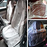 Moyishi 100PCS Car Disposable Plastic Seat Covers Vehicle Protector Mechanic Valet Pet Seat Covers