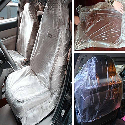 Moyishi 100PCS Car Disposable Plastic Seat Covers Vehicle Protector Mechanic Valet Pet Seat Covers