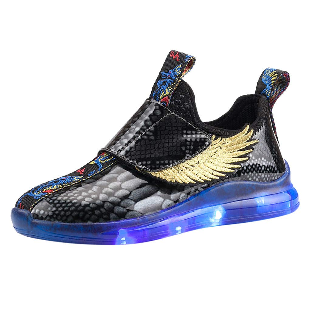 Kauneus Girls Boys Fashion Flashing Lights Wings Shoes Hip Hop Dance Shoes LED Light Up Sneakers for Toddlers Kids Black by Kauneus Kid Shoes NEW
