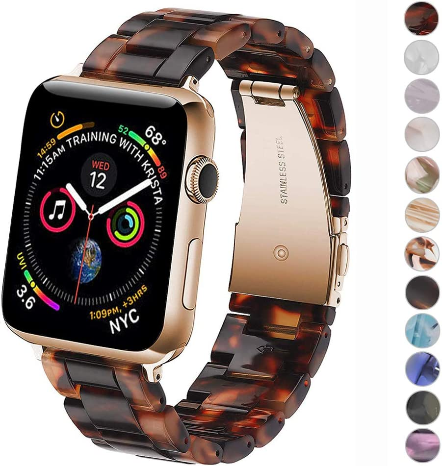 Miimall Compatible Apple Watch 38mm 40mm Resin Band Women Men Bracelet Stainless Steel Buckle Band Strap for Apple Watch SE Series 6 Series 5 Series 4 Series 3/2/1 38mm 40mm(Tortoise Stone)