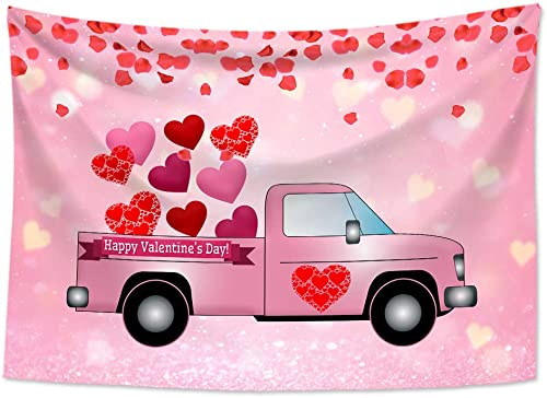 HVEST Happy Valentine s Day Tapestry Wall Hanging Pink Car with Loving Heart Wall Tapestry Romantic Love Tapestry Valentines Backdrop for Bedroom Living Room Dorm Party Decor, 92.5Wx70.9H inches