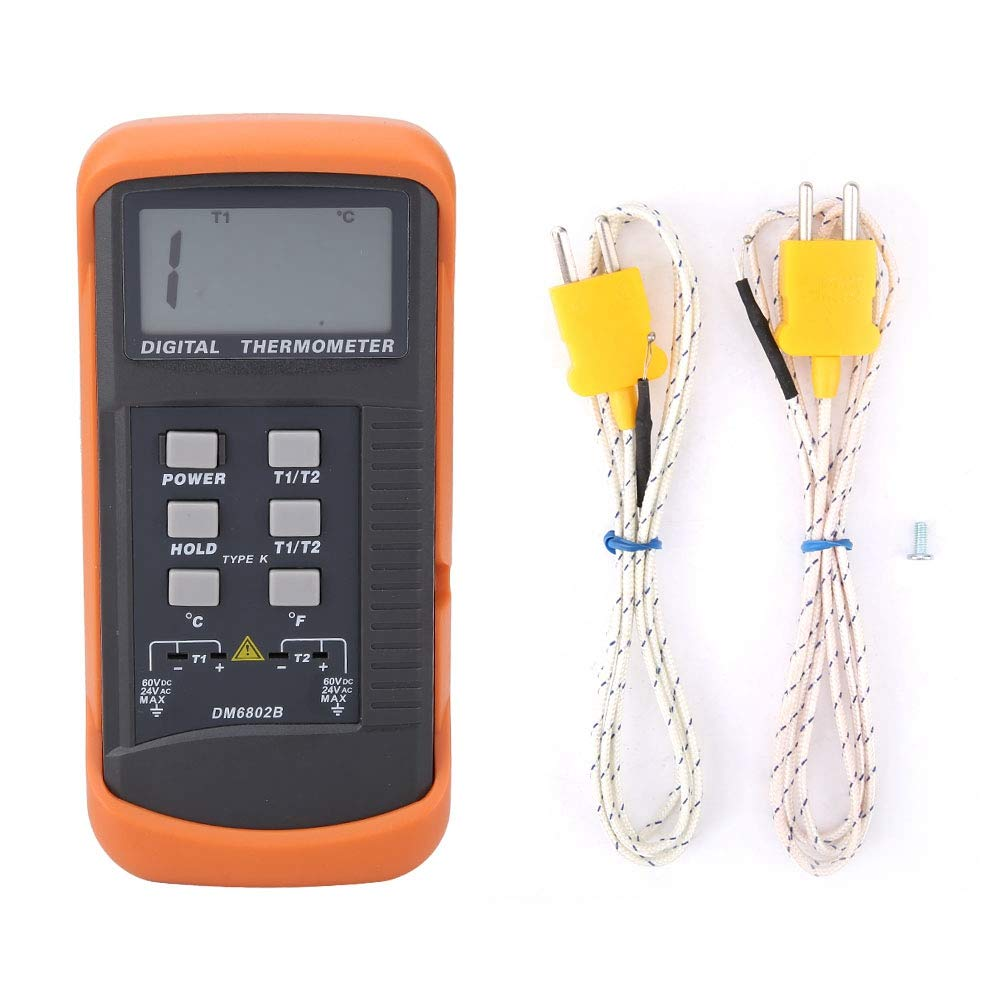 Medidor de temperatura digital de termopar DM6802B Term/ómetro digital de doble canal con medidor de temperatura de termopar tipo K para el hogar industrial