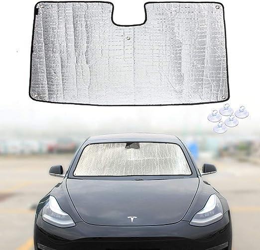 QINGJIE Compatible with Tesla 3 Model y 2018 2019 2020 Folding Sunshade Sunshade Customized Installation of Original Windshield Sunshade Heat Shield