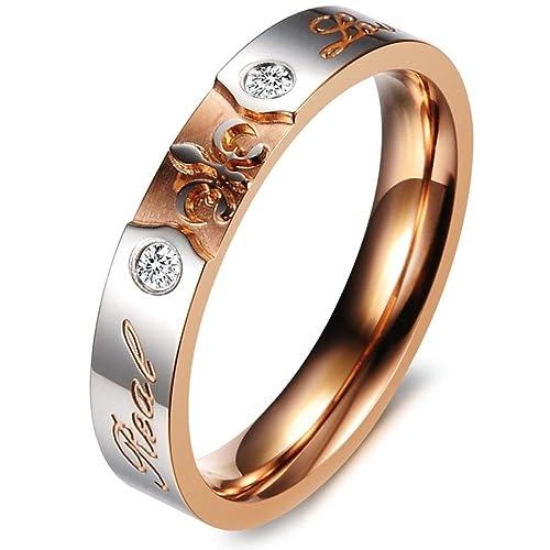 """Acero inoxidable CZ Incrustaciones Cruz """"Real Love Unisex de anillos de boda oro negro"""