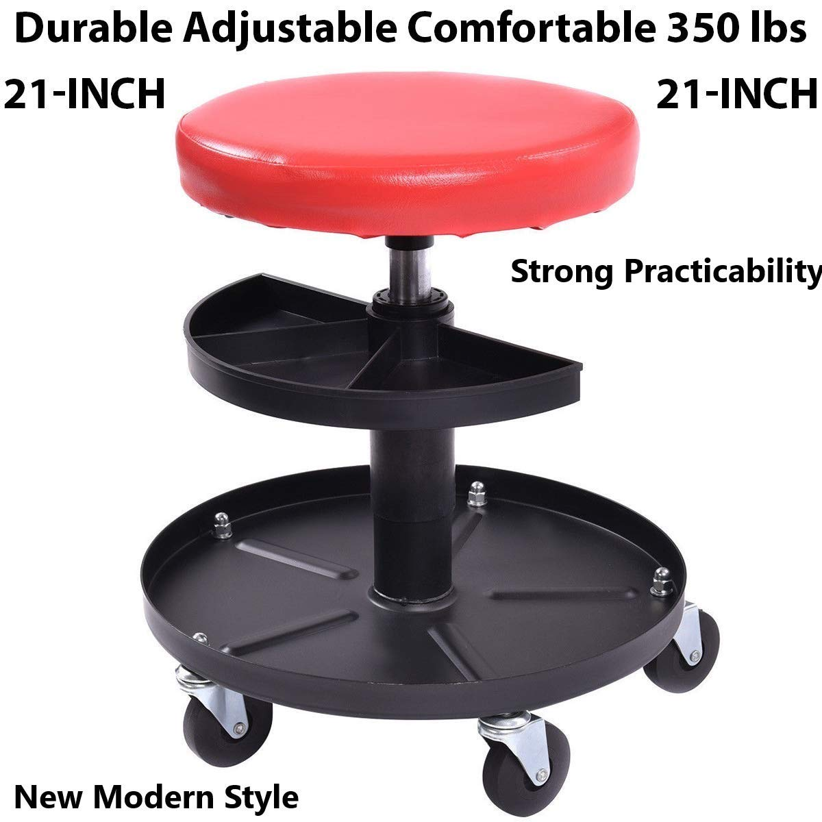 WINMART Rolling Stool Pneumatic Chair Tray Padded Repair Shop Garage w/ 350 lbs Capacity Rolling Stool Pneumatic Chair Tray Padded Repair Shop Garage w/ 350 lbs Capacity by WINMART