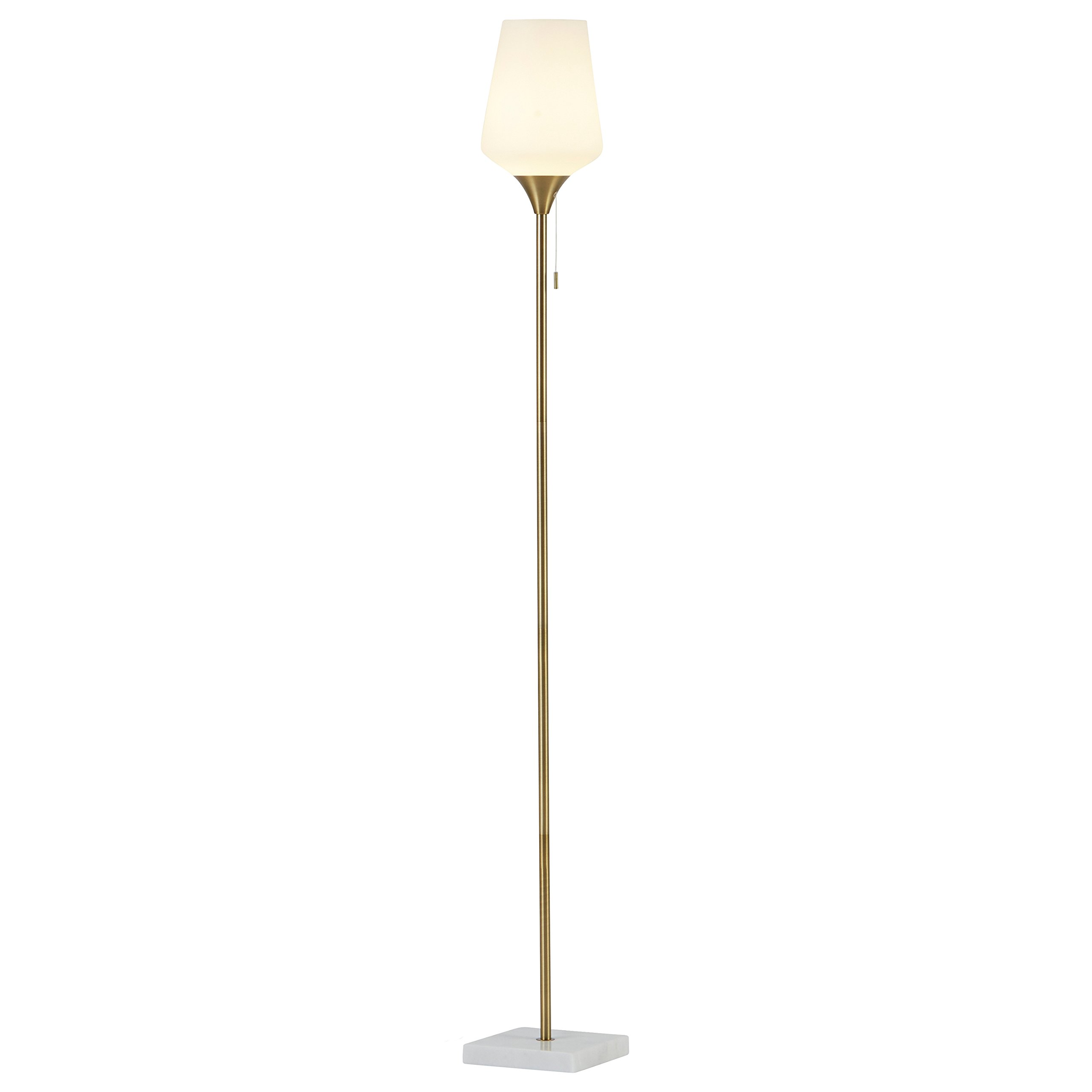 Rivet Harper Mid-Century Marble and Brass Floor Lamp, 71''H, With Bulb by Rivet