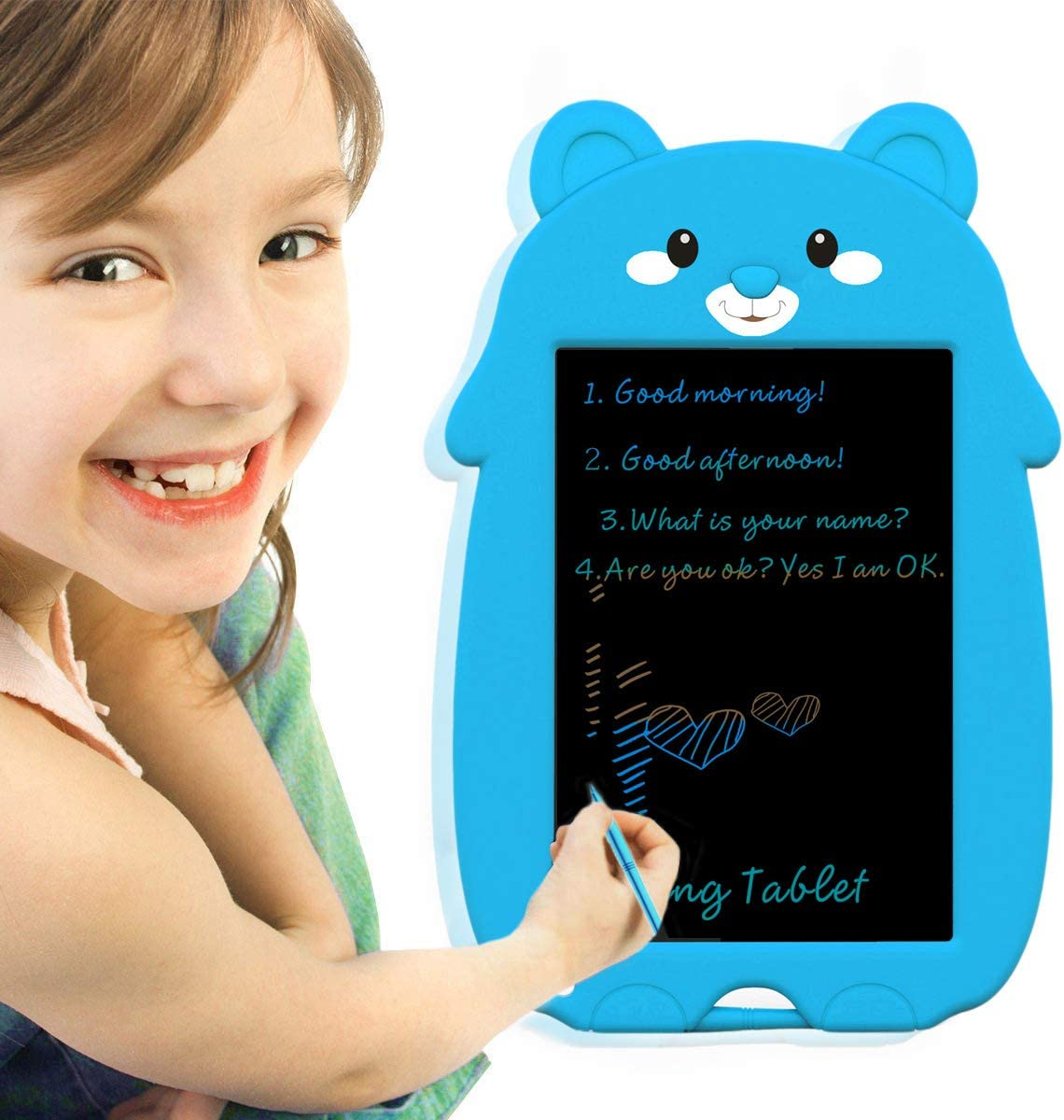 VNVDFLM 8.5 inch Colorful Bear Electronic Drawing Pads for Kids,Portable Reusable Erasable writer,Elder Message Board,4-8 Years Old Boys for Digital Handwriting Pad Doodle Board for School Pink-XX