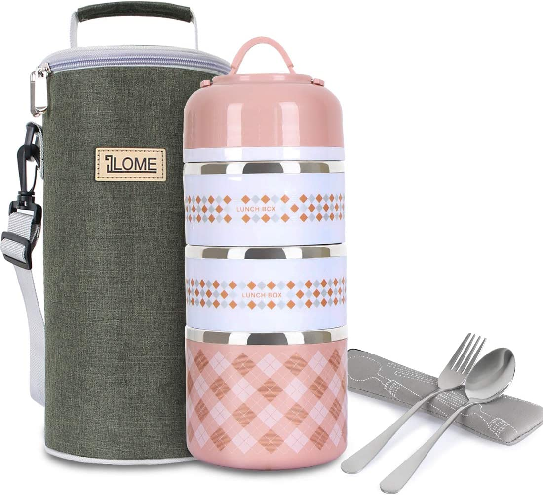 ILOME Lunch Bento box Food Container with insulated lunch bag Fork and spoon for Women Men working School Picnic and Camping